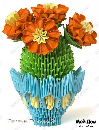 Цветущий кактус из модулей