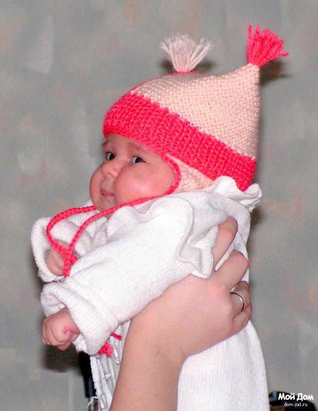 Вязание детских шапочек с ушками на спицах 188