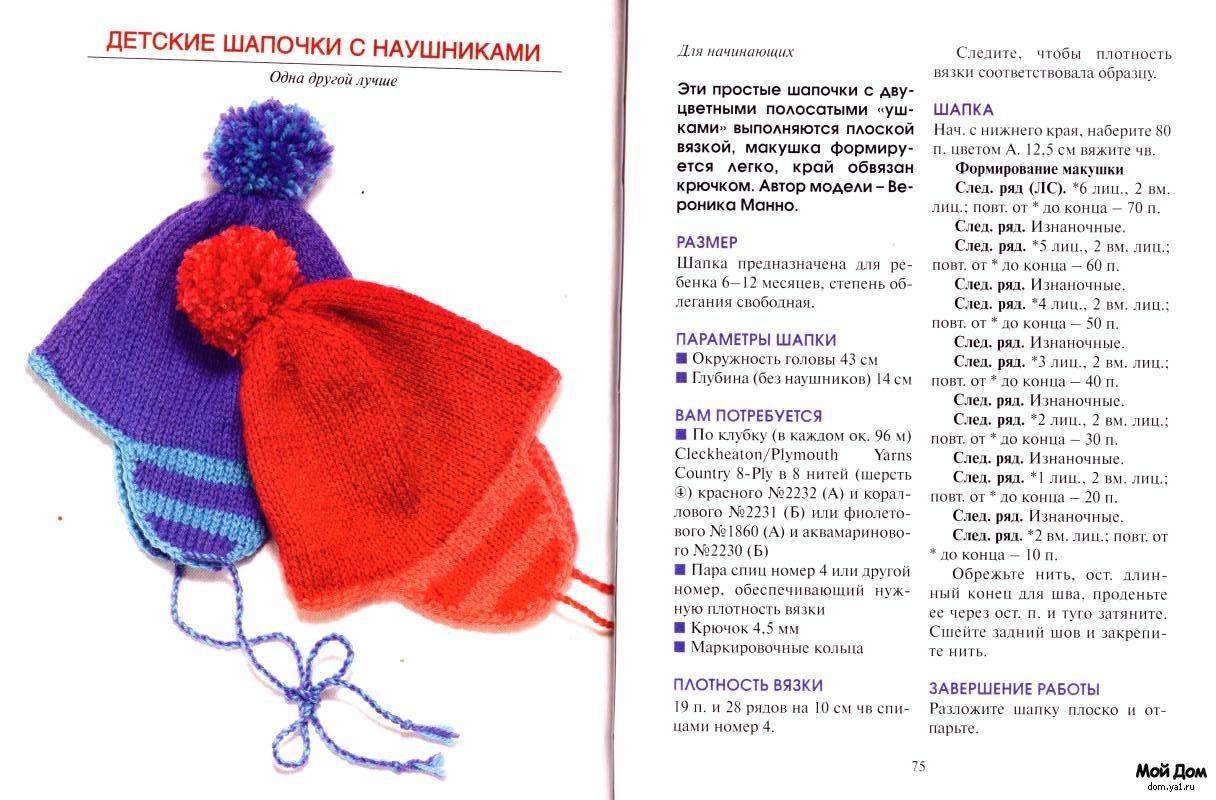 Схемы вязания зимней шапки ребенку