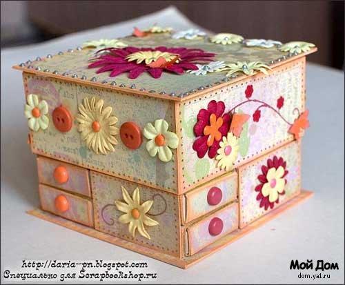Мини-комодик (из коробков)...  Этот комодик был изготовлен мной специально для магазина ScrapbookShop.ru.