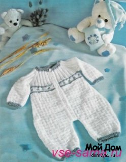 Комментарий: Вязаный детский комбинезон для малыша.
