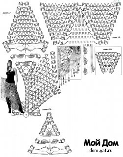 Ажурное вязание.  Яркая шаль-полукруг полностью оправдывает свое название - сочный цвет апельсина.